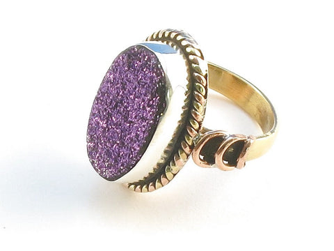 Design 114269 Premier Designs Oval Purple Drusy .925 Sterling Silver Jewelry Ring Size 5.5