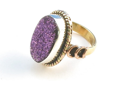 Design 114271 Premium Oval Purple Drusy .925 Sterling Silver Jewelry Ring Size 7.5