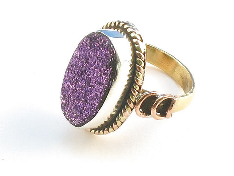 Design 114273 Special Oval Purple Drusy .925 Sterling Silver Jewelry Ring Size 8