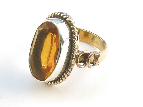 Design 114286 Lovely Oval Golden Topaz .925 Sterling Silver Jewelry Ring Size 7