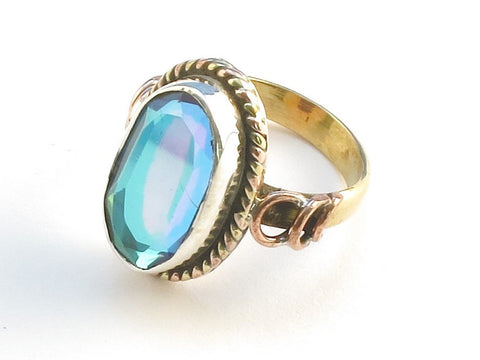 Design 114290 Premium Oval Blue Rainbow Mysterious .925 Sterling Silver Jewelry Ring Size 5