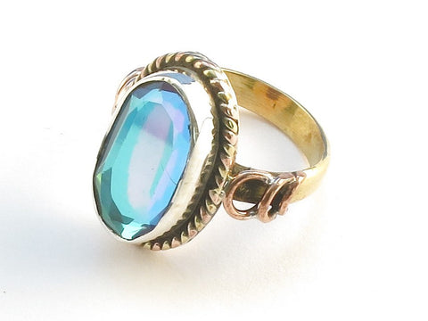 Design 114295 Lovely Oval Blue Rainbow Mysterious .925 Sterling Silver Jewelry Ring Size 7