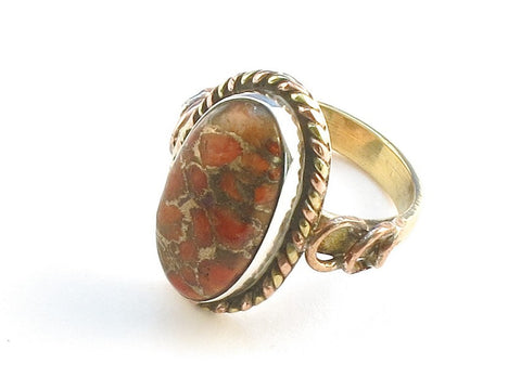 Design 114308 Exotic Oval Orange Copper Turquoise .925 Sterling Silver Jewelry Ring Size 5