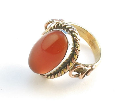 Design 114315 Unique Oval Carnelian .925 Sterling Silver Jewelry Ring Size 6
