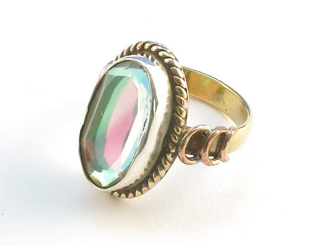 Design 114333 Handcrafted Oval Rainbow Mysterious .925 Sterling Silver Jewelry Ring Size 6