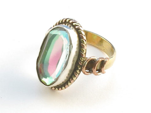 Design 114338 One-Of-A-Kind Oval Rainbow Mysterious .925 Sterling Silver Jewelry Ring Size 9.5