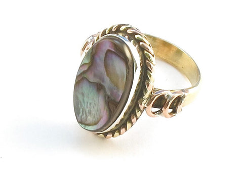 Design 114347 Exotic Oval Abalone .925 Sterling Silver Jewelry Ring Size 5