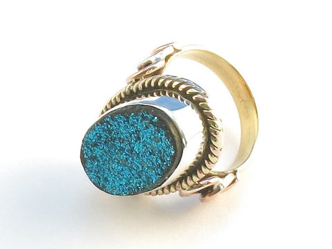 Design 114362 Made By Hand Oval Blue Drusy .925 Sterling Silver Jewelry Ring Size 5