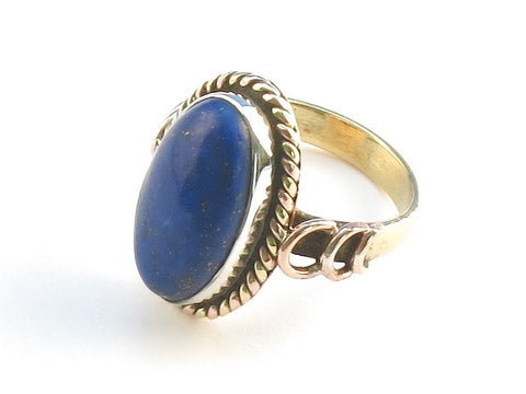 Design 114401 Jewelry Shop Oval Lapis Lazulli .925 Sterling Silver Jewelry Ring Size 9.5