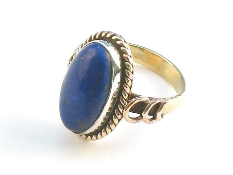 Design 114402 Original Oval Lapis Lazulli .925 Sterling Silver Jewelry Ring Size 9.5