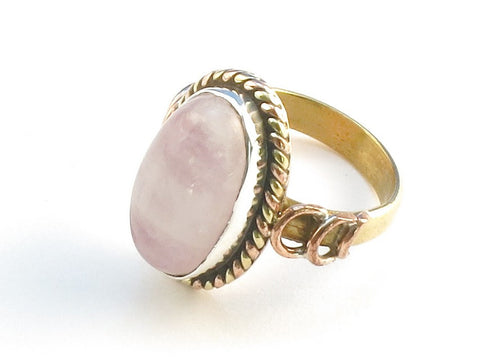 Design 114403 Handmade Oval Pink Rainbow Moonstone .925 Sterling Silver Jewelry Ring Size 5