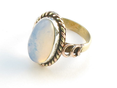 Design 114424 Wholesale Oval Opalite .925 Sterling Silver Jewelry Ring Size 8
