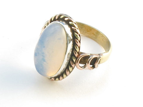 Design 114425 Handcrafted Oval Opalite .925 Sterling Silver Jewelry Ring Size 9