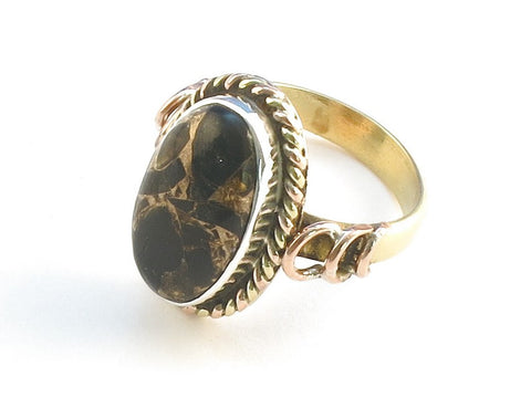 Design 114433 Unique Oval Black Copper Turquoise .925 Sterling Silver Jewelry Ring Size 7