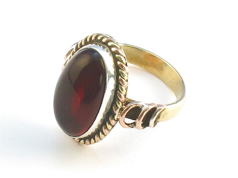 Design 114440 Fair Trade Oval Garnet .925 Sterling Silver Jewelry Ring Size 9.5