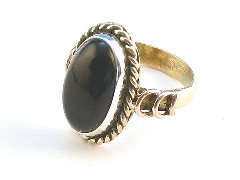 Design 114460 Handcrafted Oval Black Onyx .925 Sterling Silver Jewelry Ring Size 7