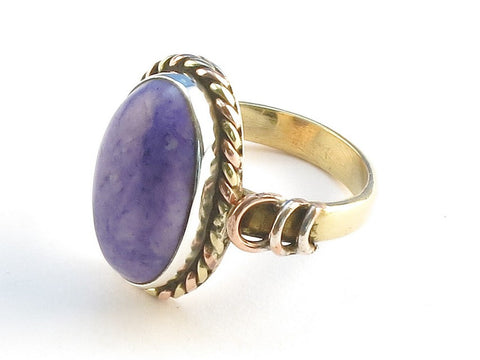 Design 114484 Original Oval Purple Rainbow Moonstone .925 Sterling Silver Jewelry Ring Size 7