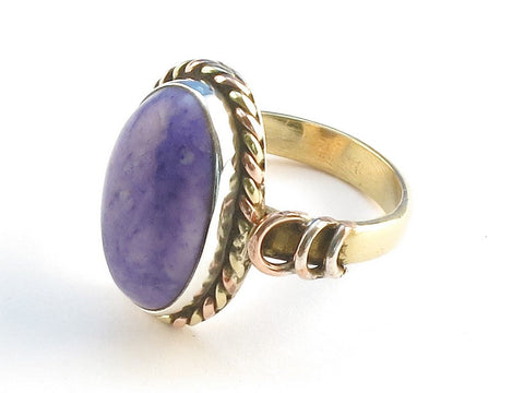 Design 114486 One-Of-A-Kind Oval Purple Rainbow Moonstone .925 Sterling Silver Jewelry Ring Size 9