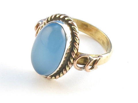 Design 114493 Jewelry Shop Oval Blue Chalcedony .925 Sterling Silver Jewelry Ring Size 5