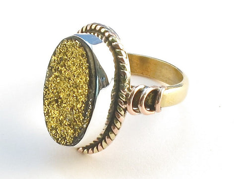 Design 114499 Jewelry Shop Oval Gold Druzy .925 Sterling Silver Jewelry Ring Size 7