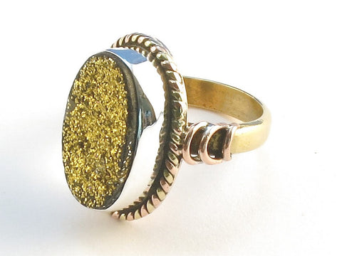 Design 114501 Unique Oval Gold Druzy .925 Sterling Silver Jewelry Ring Size 8