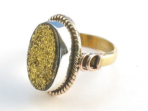 Design 114503 Handmade Oval Gold Druzy .925 Sterling Silver Jewelry Ring Size 8