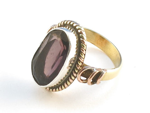 Design 114509 Handmade Oval Purple Amethyst .925 Sterling Silver Jewelry Ring Size 6