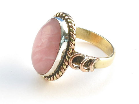 Design 114525 Handcrafted Oval Rhodocrosite .925 Sterling Silver Jewelry Ring Size 7
