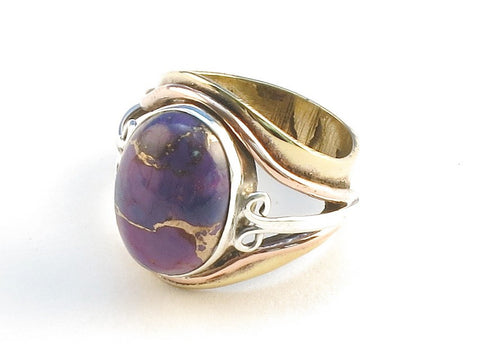 Design 114533 Jewelry Shop Oval Purple Copper Turquoise .925 Sterling Silver Jewelry Ring Size 5