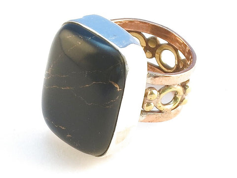 Design 114541 Unique Rectangle Black Onyx .925 Sterling Silver Jewelry Ring Size 6