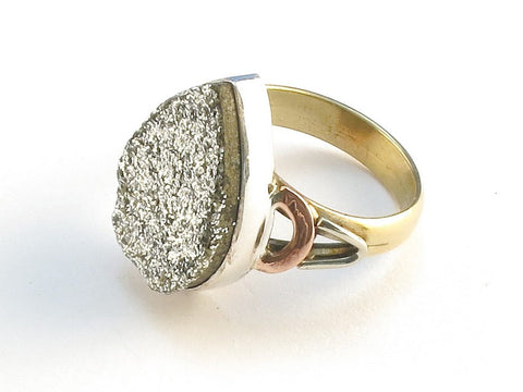 Design 114548 Made By Hand Pear Silver Druzy .925 Sterling Silver Jewelry Ring Size 10
