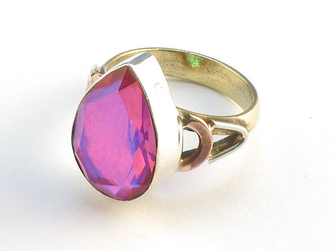 Design 114575 Handcrafted Pear Pink Rainbow Mysterious .925 Sterling Silver Jewelry Ring Size 7