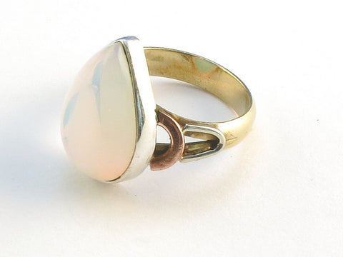 Design 114580 Original Pear Opalite .925 Sterling Silver Jewelry Ring Size 6