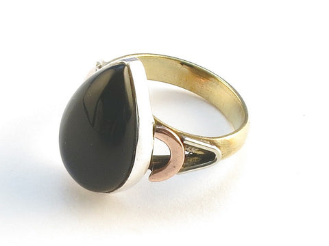 Design 114592 One-Of-A-Kind Pear Black Onyx .925 Sterling Silver Jewelry Ring Size 5