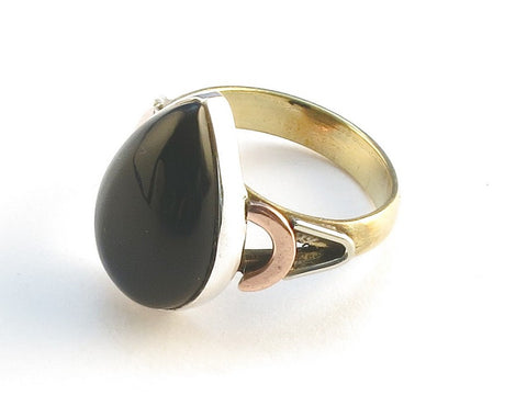 Design 114593 Handmade Pear Black Onyx .925 Sterling Silver Jewelry Ring Size 6