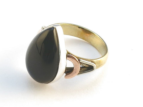 Design 114594 Made By Hand Pear Black Onyx .925 Sterling Silver Jewelry Ring Size 7