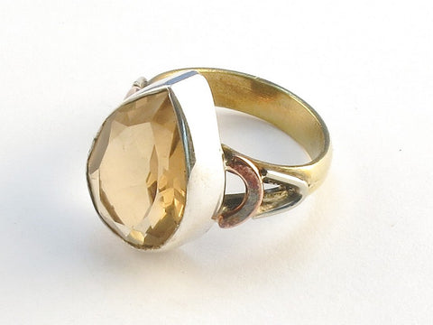 Design 114608 Handcrafted Pear Champagne Quartz .925 Sterling Silver Jewelry Ring Size 9