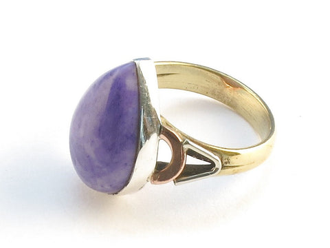 Design 114621 Artistic Pear Purple Rainbow Moonstone .925 Sterling Silver Jewelry Ring Size 5