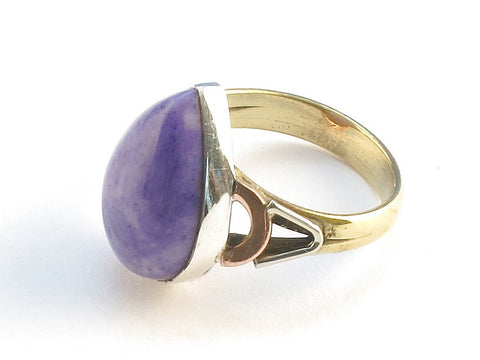 Design 114624 Fair Trade Pear Purple Rainbow Moonstone .925 Sterling Silver Jewelry Ring Size 8