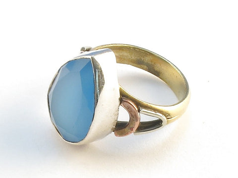 Design 114645 Premier Designs Pear Blue Chalcedony .925 Sterling Silver Jewelry Ring Size 8