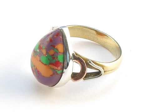 Design 114669 Wholesale Pear Purple Splash Turquoise .925 Sterling Silver Jewelry Ring Size 6