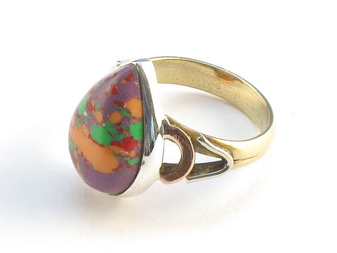 Design 114672 Jewelry Shop Pear Purple Splash Turquoise .925 Sterling Silver Jewelry Ring Size 9