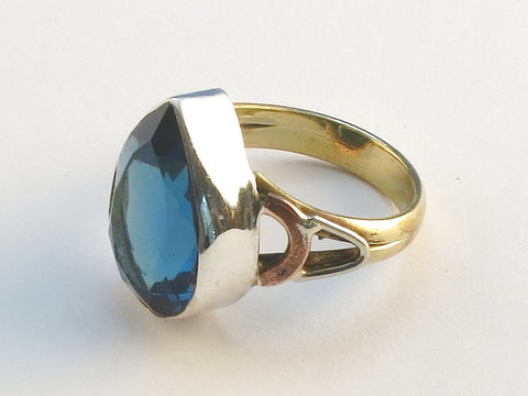 Design 114675 Shimmering Pear Blue Fluorite .925 Sterling Silver Jewelry Ring Size 5