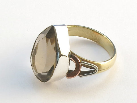 Design 114680 Fancy Pear Smoky Quartz .925 Sterling Silver Jewelry Ring Size 7