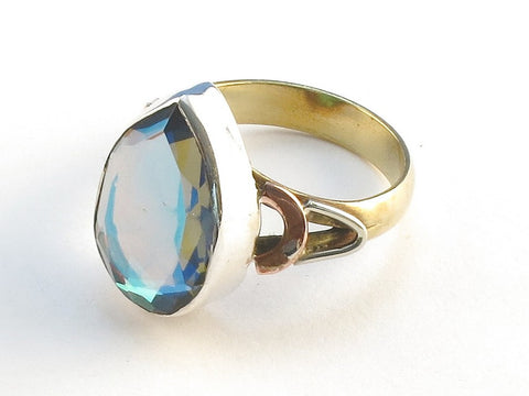 Design 114755 Original Pear Blue Rainbow Mysterious .925 Sterling Silver Jewelry Ring Size 9
