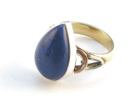 Design 114766 Made By Hand Pear Lapis Lazulli .925 Sterling Silver Jewelry Ring Size 10