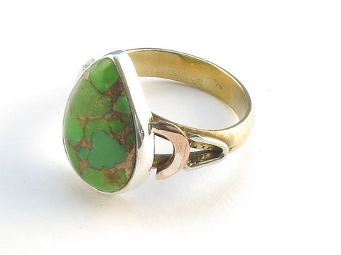 Design 114782 Lovely Pear Green Copper Turquoise .925 Sterling Silver Jewelry Ring Size 6