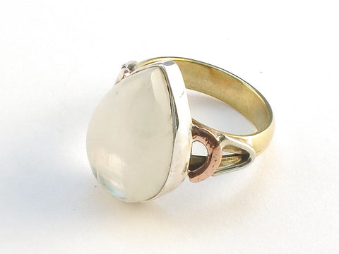 Design 114805 Artistic Pear Rainbow Moonstone .925 Sterling Silver Jewelry Ring Size 6