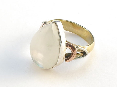 Design 114809 Premium Pear Rainbow Moonstone .925 Sterling Silver Jewelry Ring Size 10