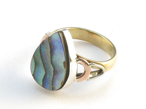 Design 114824 Shimmering Pear Abalone .925 Sterling Silver Jewelry Ring Size 5